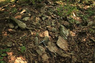 """Photo: A """"bódvalenkei mészkő"""" kőzetei kemények és tarkák a bennük található tűzkő-rétegek miatt"""