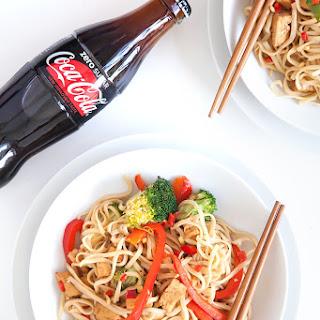 Coca-Cola Zero Sugar tofu and vegetable noodle stir fry.