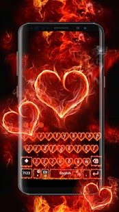 Red Fire Heart Keyboard Theme - náhled
