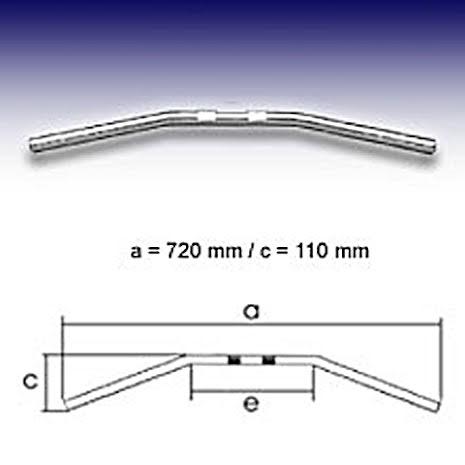 FEHLING Drag Bar Small, 7/8 inch, W:72cm