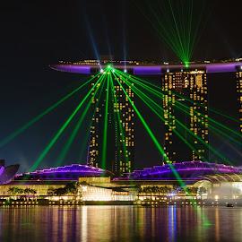 Singapore Laser Lights at Night by Yuzo Shida - City,  Street & Park  Skylines ( singapore, laser, night, skyline, marina bay )