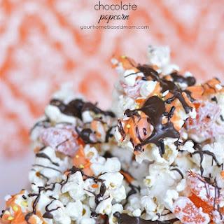 Halloween Popcorn with Orange and Dark Chocolate