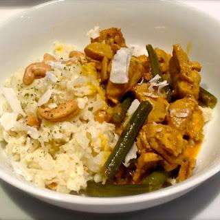 "Chicken Coconut Curry with Coconut Cashew Cauliflower 'Rice"""
