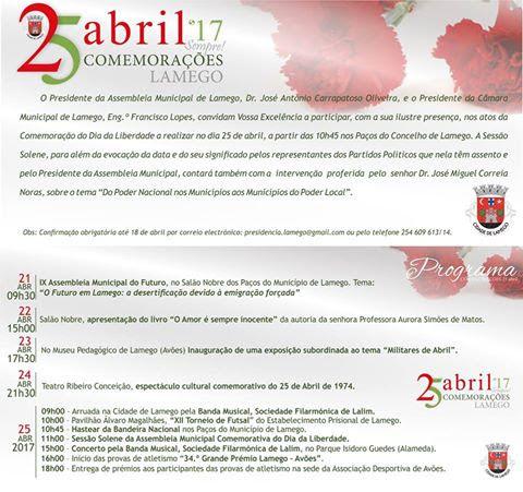 Programa – Comemorações 25 de Abril – Dia da Liberdade - Lamego - 2017
