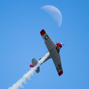 Fly Me to the Moon by Douglas Hand - Transportation Airplanes ( clouds, flying, flight, moon, sky, plane, airplane )