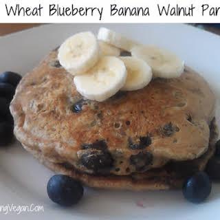 Vegan Whole Wheat Blueberry Banana Walnut Pancakes.