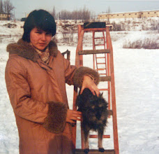 Photo: Winter 1980 and my first female with pedigree Zwerg Snautzer Jaga.