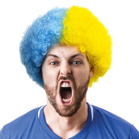 Peruk Suporter blå/gul