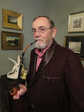 Photo: Smoking my great grandfather's lap pipe after Baard Hansen, Bergen Norway, repaired it for me.