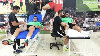 Álvaro Giménez y Juan Ibiza en la sala médica del club en el inicio de la semana.