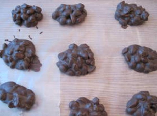 If you have left over chocolate, make some nut clusters. I poured in a...