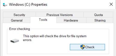 Tools tab in the C:/ Properties window