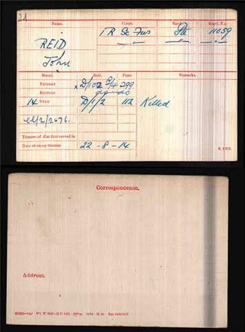 John Reid's Medal Index Card