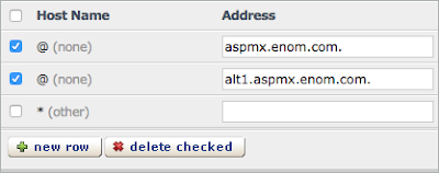 The existing MX records are checked above the Delete Checked button.