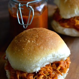 Healthy Peach BBQ Pulled Chicken.