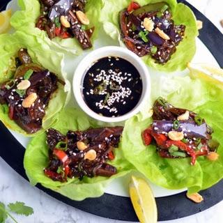 Sweet & Spicy Eggplant Lettuce Wraps.