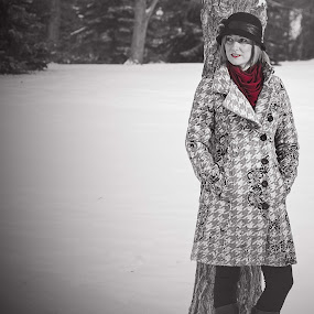 The Red Scarf by Glenn Angel - People Portraits of Women ( ranch, sexy, red, snow, cochrane, smile, scarf, women, lady )