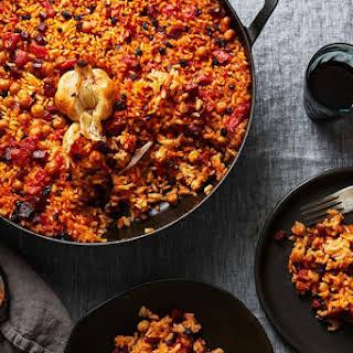 Spanish Baked Rice with Chorizo and Chickpeas.
