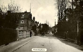 Photo: The Queens Head Tonbridge Road Wateringbury with Benfields Builders immediately in front