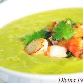 Chilled Avocado and Cucumber Soup With Prawn and Scallop Salsa.