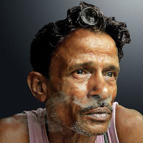 streaming smoke by Arnab Bhattacharyya - People Portraits of Men