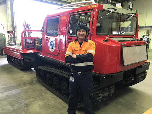 Scott Thurn at the Australian Antarctic Division in Kingston, Tasmania with an all-terrain vehicle to traverse the snow and ice.