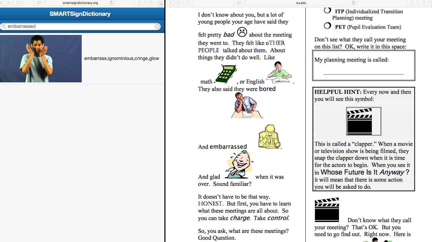 Picture of a split screen with an ASL dictionary on the left and content on the right