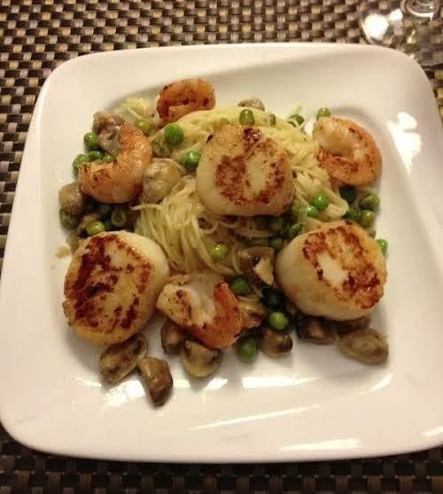 "Seared Scallops & Shrimp Over Angel Hair Pasta ""My wife loves shrimp..."