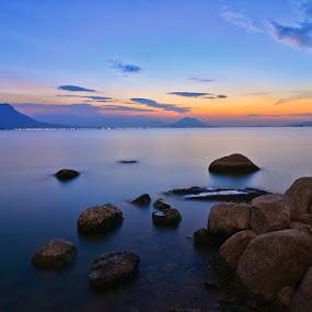 sunset at jatiluhur by Muzakhir Rida - Landscapes Sunsets & Sunrises ( reservoir, beaches, hills, sunset, landscapes )