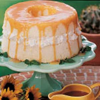 Angel Food Cake With Caramel Sauce.