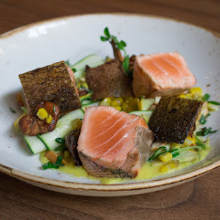 Crispy Skin Salmon with Corn, Summer Squash and Chanterelles