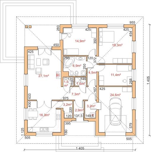 Dom przy Rubinowej 2 - Rzut parteru