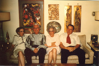 Photo: Dad with his sister Marguerite and cousin Dorothy Schweitzer and nephew Ray (Bud) Johnson