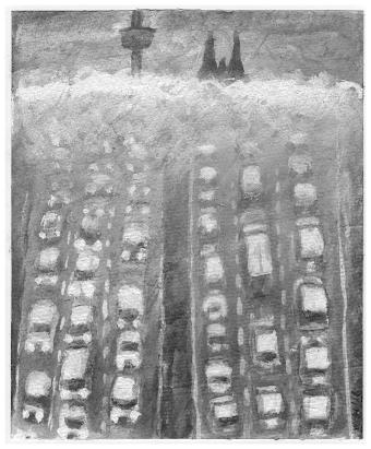 Grafik: Stehfahrzeuge in Sechserreihe, aus den Nebelschwaden ragen Colonius und Dom.