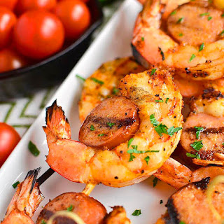Spicy Shrimp and Sausage Skewers.