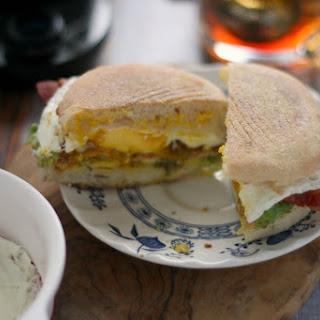 Quick Bacon, Avocado and Egg Breakfast Sandwiches.