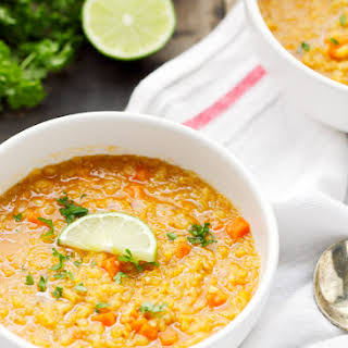 Curried Red Lentil Quinoa Soup.