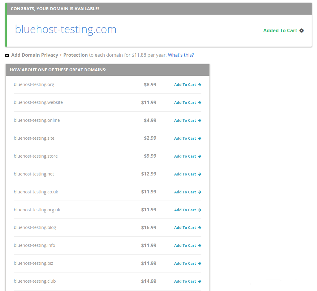 bluehost domain pricing