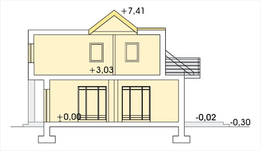 Adaś wersja B z pojedynczym garażem - Przekrój