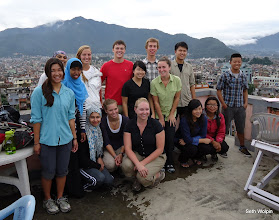 Photo: We're all here! On top of the hotel roof in Kathmandu.