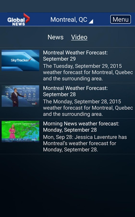 Global News Skytracker- screenshot