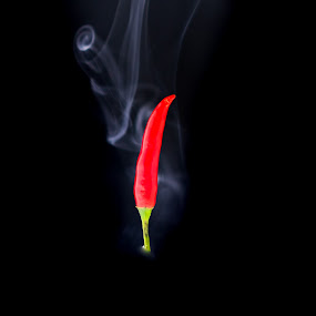 Smoking Hot Chili Pepper. by John Greene - Food & Drink Ingredients ( spicy, hot, red chilli, chilli, john greene, smoke )