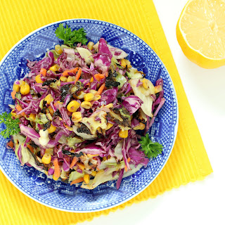 Roasted Slaw with Roasted Garlic Lemon Dressing (Gluten-free, Vegan / Plant-based, Low Carb, High Fiber)