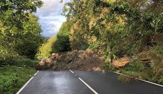 Serious landslide blocks the A490 - diversions in place