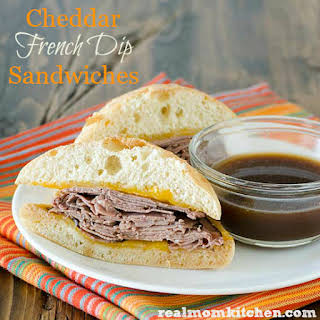 Cheddar French Dip Sandwiches.