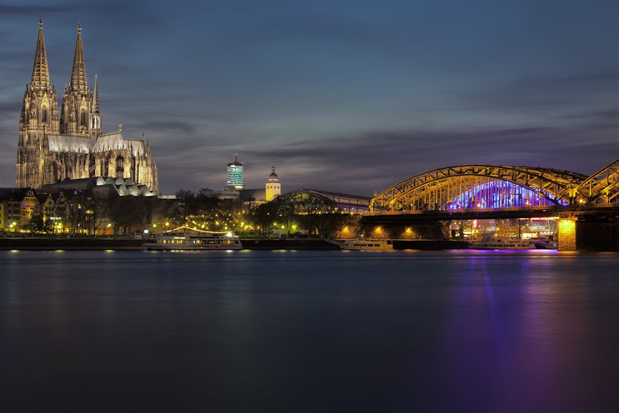 Cologne-Cathedral at Night. by Leen Bilt Van Der - Buildings & Architecture Statues & Monuments ( monuments, rhine, dologne, night, cathedral, bridge, city at night, street at night, park at night, nightlife, night life, nighttime in the city,  )