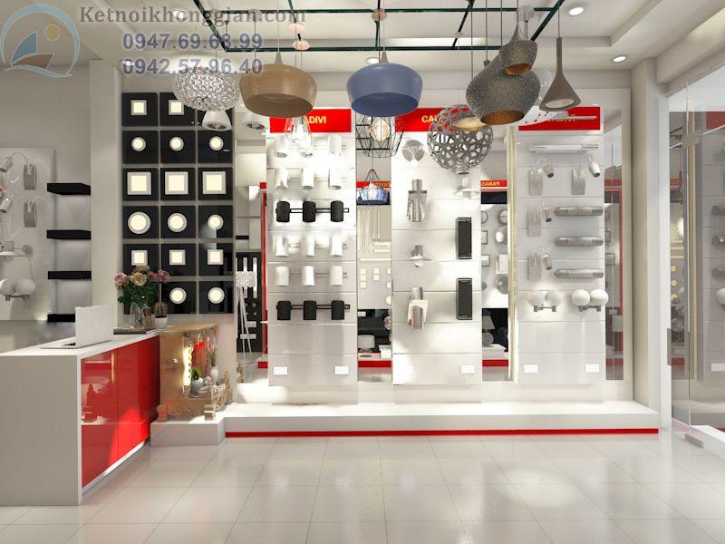 thiết kế cửa hàng đèn điện màu trắng đỏ