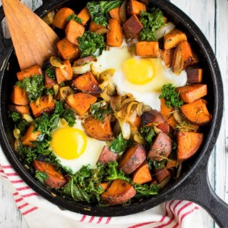 One-Skillet Sweet Potato and Kale Hash.