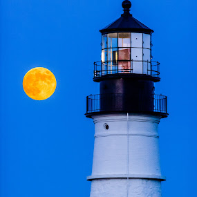 Full Moon Over Portland Head by Tom Whitney - Buildings & Architecture Public & Historical ( moon, portland, maine, full, lighthouse, phl, head, light )
