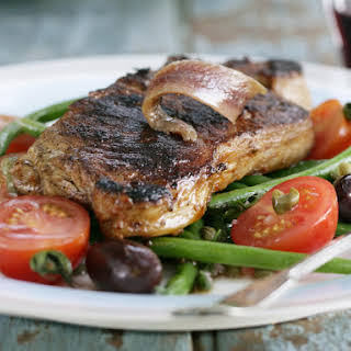 Sirloin Steaks with Green Bean, Tomato and Olive Salad.